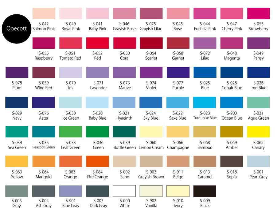 Color Chart Chacott Co Ltd
